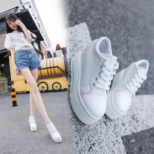 New Women Platform Hidden Wedge High Heel Canvas Lace-up Creepers Sneakers Boots