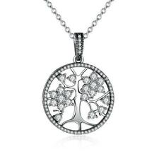 Silver Tree of Life 925 Sterling Silver Pendant Necklace B01