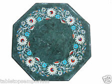 "15"" Green Marble Rare Foyer Table Coffee Top Handmade Mosaic Home Decor Gifts"