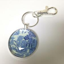 Beautiful, Rare Blue Willow, Silver Tone, Round Key Chain 4in L x 1.5in D