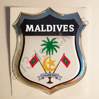Sticker Maldives Emblem Coat of Arms Shield 3D Resin Domed Gel Vinyl Decal Car