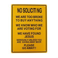 2x Warning No Soliciting Tin Give Away Beer Sign 225x300mm Metal Restaurant Bar