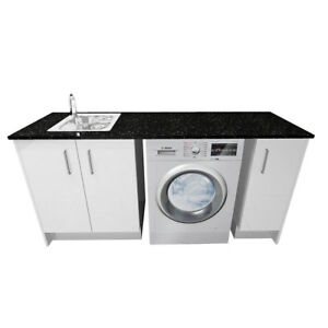 White Polyurethane Laundry Cabinet Set Cabinet + Sink + Mixer + Stone Bench Top