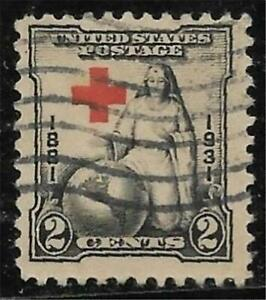 5v0150 Scott 702 US Stamps 1931 2c Red Cross Issue Used