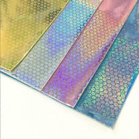 A4 Holographic Dots Fabric Synthetic Faux PU Leather DIY Bow Bag Patchwork Craft