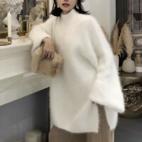 Women Oversize  High Neck Knitted Loose Lazy Sweater Fashion Faux Fur Long Casua