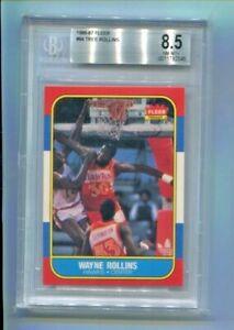 1986-87 Fleer - WAYNE TREE ROLLINS - Rookie Card #84 - ATLANTA HAWKS BGS 8.5