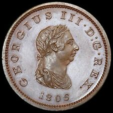 More details for george iii, 1760-1820. bronzed copper proof halfpenny, 1806.