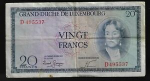 Luxembourg 20 Francs 1955 Pic# 49