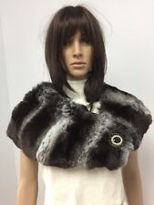 GENUINE CHINCHILLA FUR STOLE SCARF CAPE COLLAR Black VELVET Empress