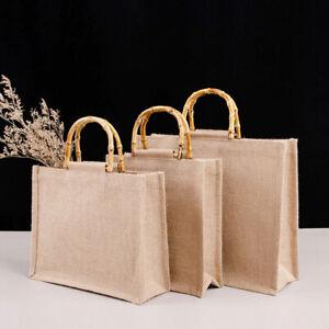 Burlap Bag Retro Shoulder Bag Cotton Linen Bag Storage Handle Canvas Handbag New