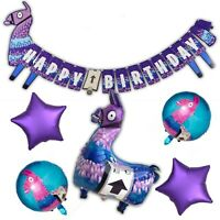 Gamer Llama Party Banner & Balloons | Fillers Favours Supplies Gaming Decoration