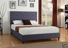 DK BLUE Upholstered KING Size Platform Bed Frame & Slats Modern Home Bedroom NEW