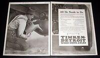 1919 OLD MAGAZINE PRINT AD, TIMKEN-DETROIT WORM DRIVE TRUCK AXLE, RESISTS WEAR!