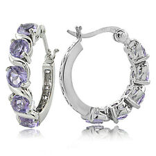 Sterling Silver 2.50ct TGW Amethyst S Design Hoop Earrings