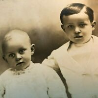 Antique RPPC Postcard Real Photo Walter+ George Weller Victorian Child Baby Bros