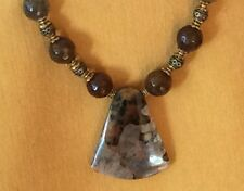 Untreated petrified wood opal pendant crackle agate beads necklace earrings set