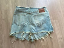 R13 Layered Fringed Denim Venice Shorts Faded Light Distressed 27