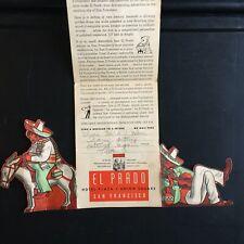 1938 EL PRADO Mexican Restaurant SAN FRANCISCO die-cut brochure HOTEL PLAZA rare