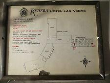 VINTAGE RIVIERA HOTEL LAS VEGAS IN ROOM FRAMED GLASS EMERGENCY EXIT PLAN