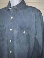 GAP Sz LARGE Blue Chambray L/S Tab Collar Button Down Cotton Pocket Shirt EUC