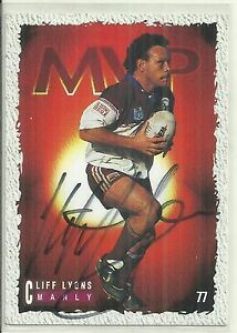 1995 CLIFF LYONS MANLY SEA EAGLES SIGNED MVP  RUGBY LEAGUE DYNAMIC CARD SERIES I