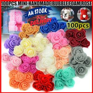 100x Artificial Rose Head Fake Foam Flower Buds Bouquet DIY Home Wedding Decor