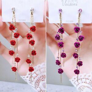 Pearl Long Earrings Moon Star Flower Rhinestone Wedding Pendant Earrings Korean