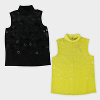 Womens Ladies High Neck Smart Sequin Top Sleeveless High Neck Shell Shirt Blouse