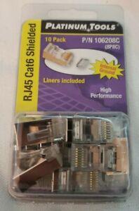 Platinum Tools 106208C Standard Cat 6 Shielded 2 Piece 3 Prong w/Liner RJ45 Conn