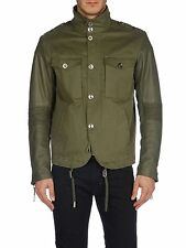 DIESEL LADING OLIVE GREEN LEATHER-SLEEVE JACKET SIZE L 100% AUTHENTIC