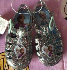 Baby Toddler Girls Size 7 Disney Frozen Glitter Beach Jelly Shoes/sandals BNWT