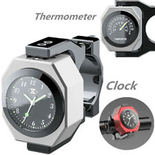 Silver CNC Motorcycle Handlebar Clock Thermometer Analogue Dial Watch Night View