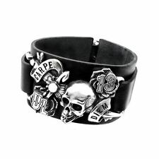 Alchemy Gothic Carpe Diem Leather Bracelet - Wristband Strap Alternative