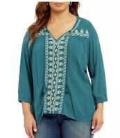 One World Womens Plus Size 3X Long Sleeve Turquoise Top