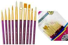 Royal Langnickel Paint Brushes BRISTLE and GOLD TAKLON 10pc SVP8 All Paints