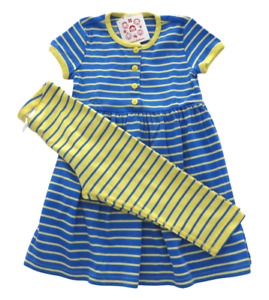 New Girls Hanna Andersson Blue Yellow Striped Playdress & Capri Leggings 110 4 5