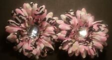 NEW Pair Pink Camo Daisy Hair Flower Clips Baby Toddler Girl Hair Bow Reborn 2pc