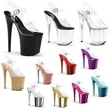 PLEASER - Flamingo-808 Sexy Stiletto Heel Platform Ankle Strap Sandal Shoe