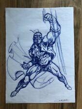 CALDERON dessin original dédicacé Superman Marvel rare