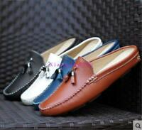 Mens slip on tassel boat shoes backless slippers mules loafers pump Casual shoes