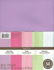 "New Recollections 8.5x11"" Cardstock Paper Soda Pop Pink, Purple, Green 50 Sheets"