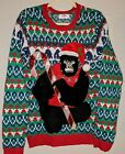 NEW Holiday Time Mens Gorilla With Bells Ugly Christmas Sweater Size S 34-36
