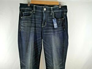 AEO American Eagle Outfitters Jeans Straight Super Stretch 10 Mid Rise Dark Wash