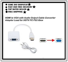 HDMI to VGA Output Cable Converter Adapter Lead for Xbox PS3 HDTV PC Projector