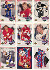 1991-1992 UPPER DECK HOCKEY BRETT HULL HEROES COMPLETE INSERT SET 1-9 + HEADER
