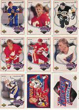 1991-1992 UPPER DECK HOCKEY BRETT HULL HEROES COMPLETE INSERT SET 1-9 + HEADER