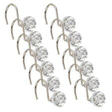 Pack of 12 Diamante Shower Curtain Hooks Bathroom Elegant Style Crystal Gems