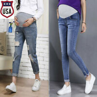 Pregnant Woman Ripped Jeans Maternity Trousers Nursing Prop Belly Pants Plus