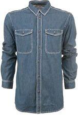 adidas Originals Mens Cotton Long Sleeve Casual Retro Denim Shirt Top Blue XL